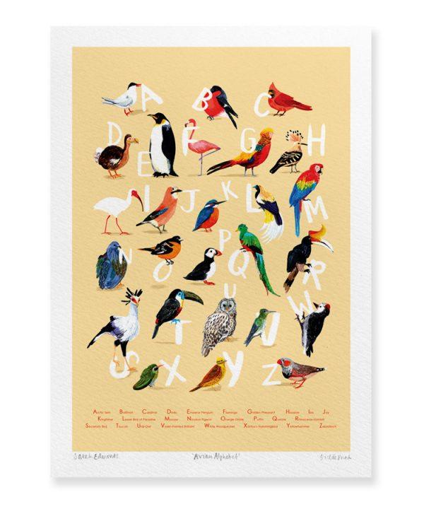 Digital print titled 'Avian Alphabet,'by Sarah Edmonds