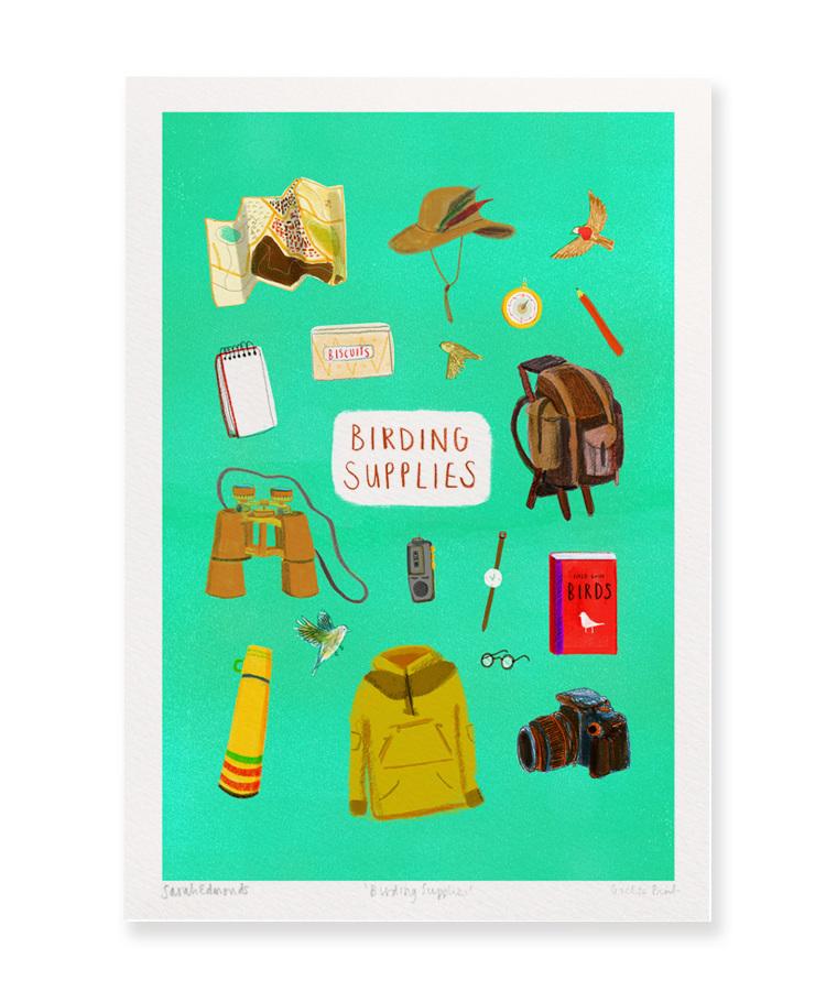 Digital print titled 'Birding Supplies' by Sarah Edmonds