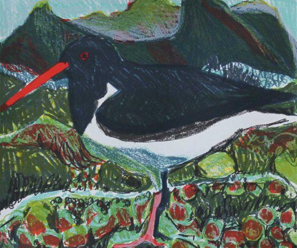 Screenprint titled 'Oystercatcher' by Kittie Jones