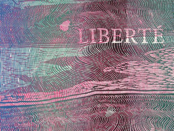 Peter Driver Wood Cut Print Titled 'Liberte Moire V'
