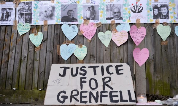 Justice for Grenfell. Photograph: Hannah Mckay/ Reuters