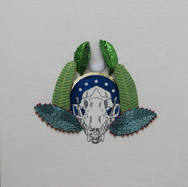 embroidery of fruit bat skull