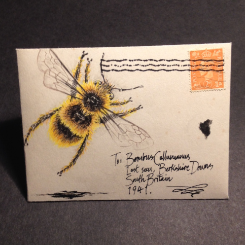 drawing of bumble bee on old envelope