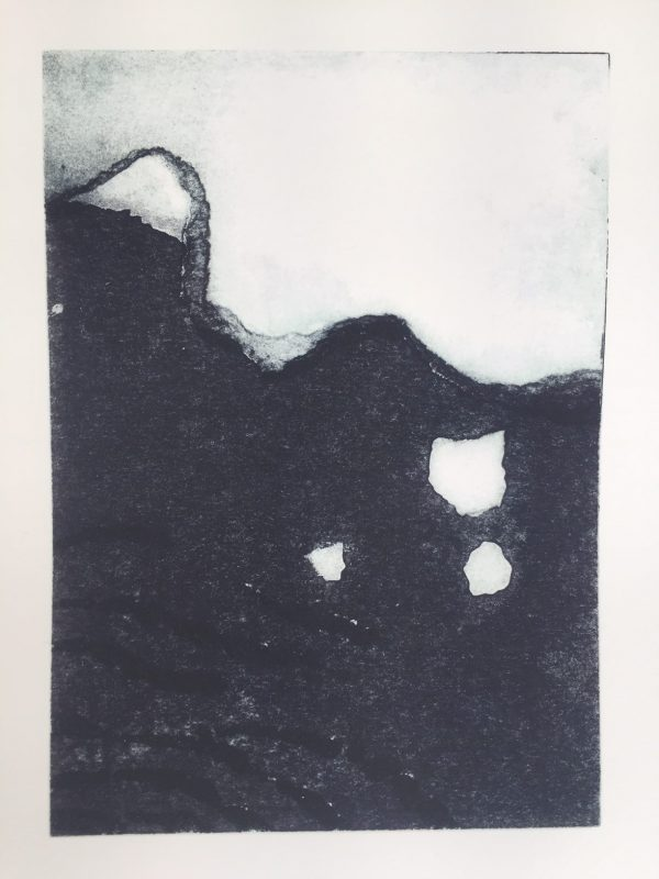 b&w print of arctic ice