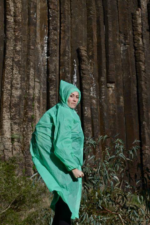 photo of Ayesha in a raincoat