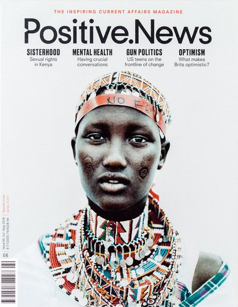 Positive news magazine cover with image of Kenyan Woman