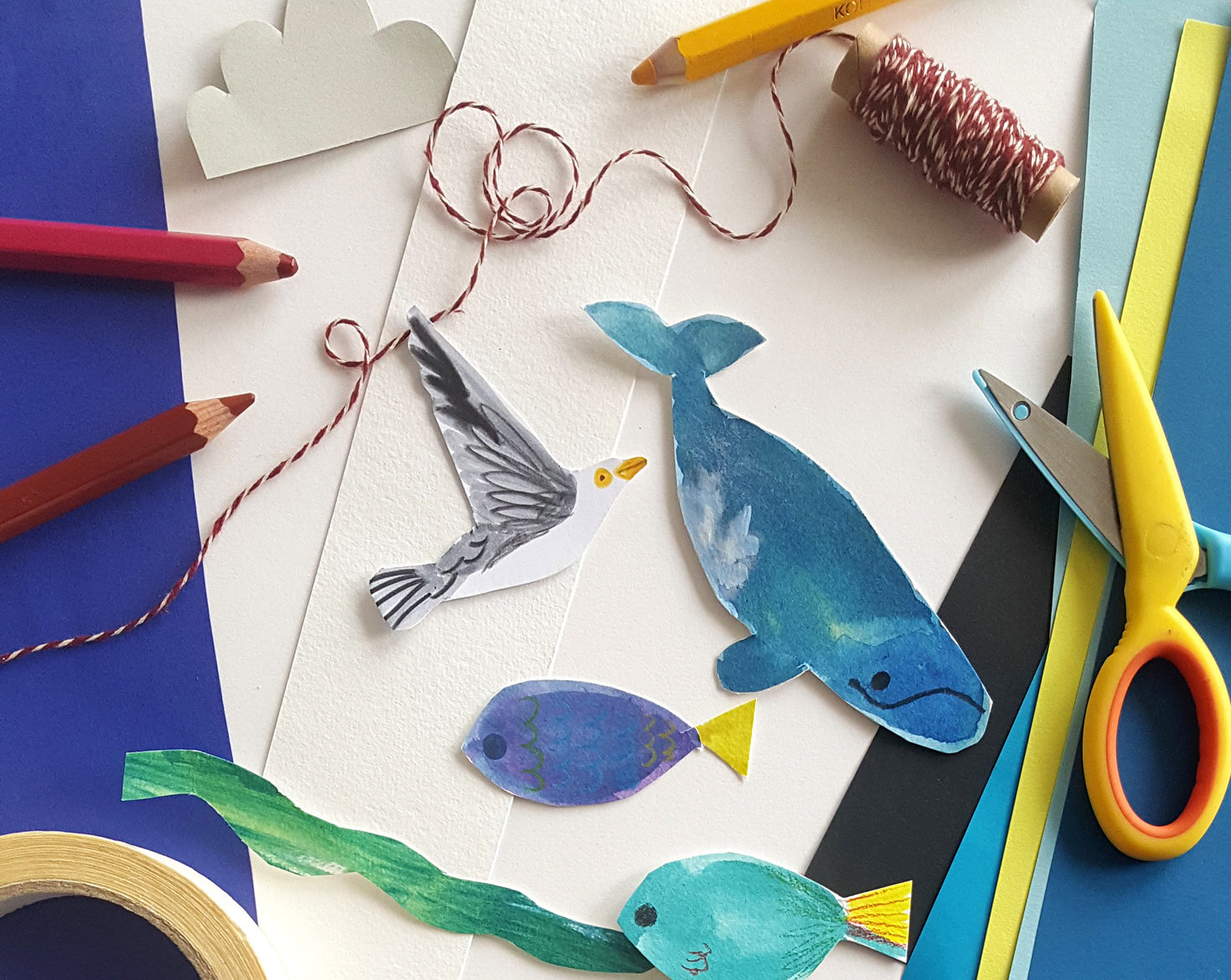 photo of Sarah Edmonds' craft materials and sea creatures