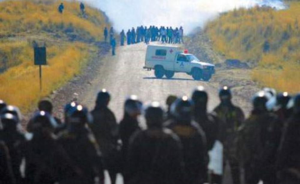 protesters v police in South America