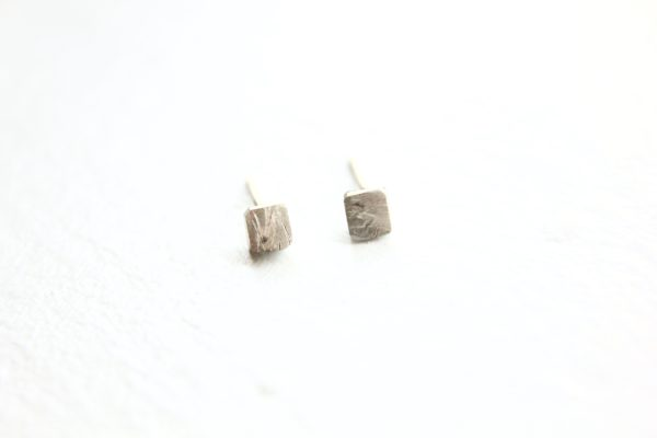 Silver cube stud earrings by Tricia Made