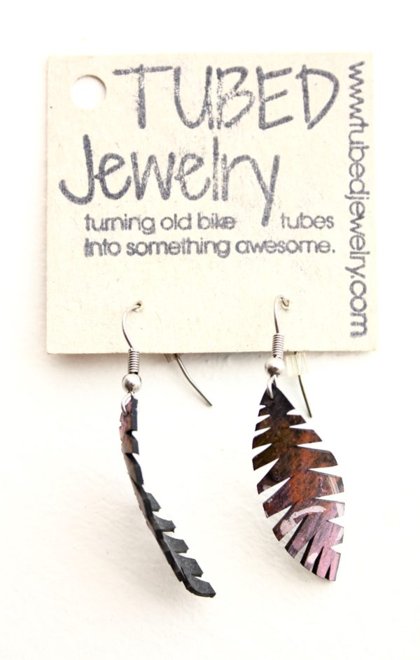 Feather-shaped upcycled bike tube earrings by Tubed Jewellery