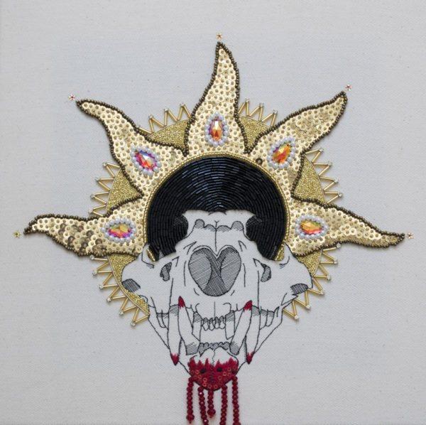 Embroidery titled 'St Sultan' by Katie Tume