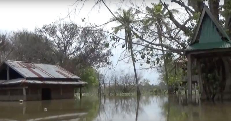 photo of flooded abandoned village