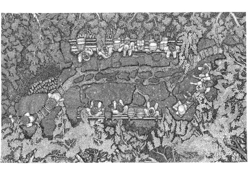 black and white illustration of forest people sitting among trees