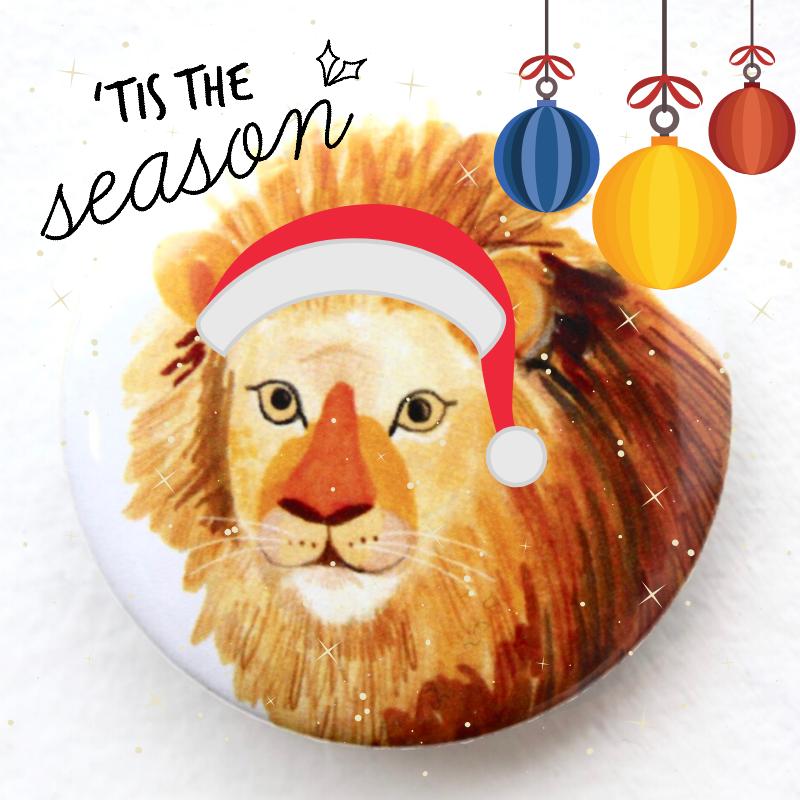 illustration of lion with text tis the season