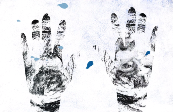 Two black hand prints on white background