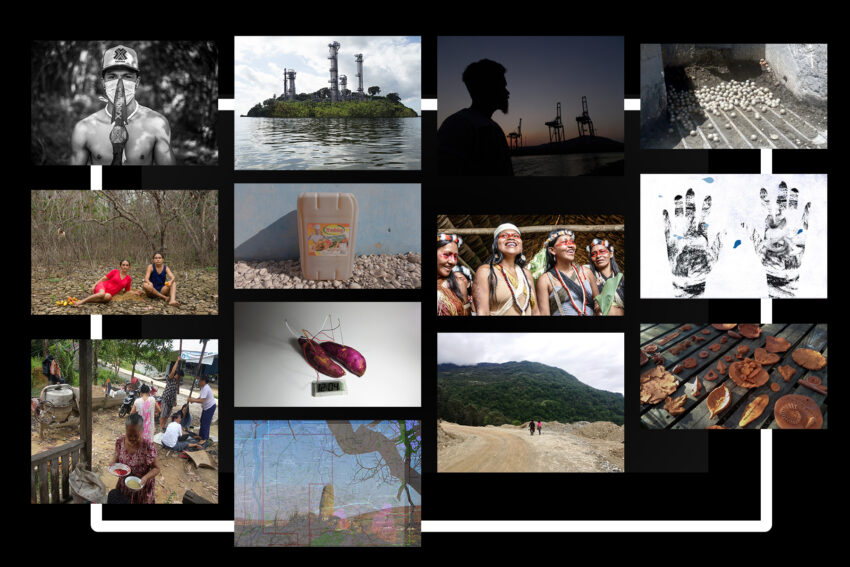 collage of extractives art on black background