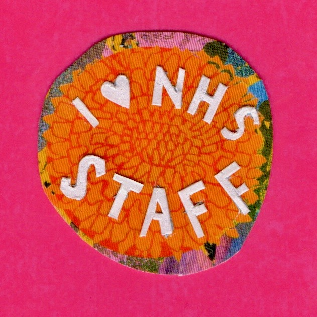 I heart NHS orange badge on pink background