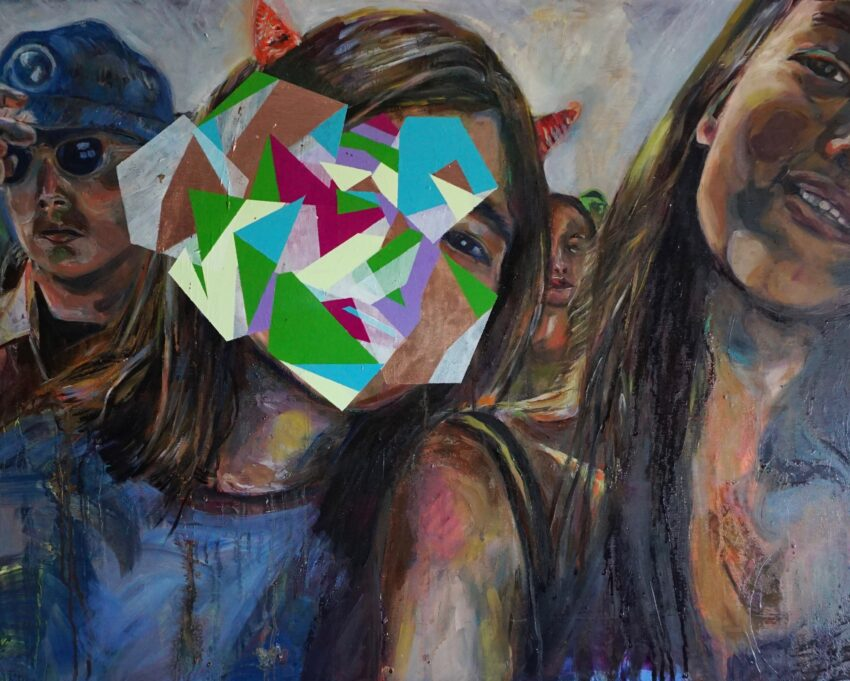 A painting of faces in a crowd. In the centre is the face and shoulders of a girl with shoulder length brown hair, wearing a blue jumper. Small red horns poke out through her hair. Most of her face and some of her hair is obscured by lighter coloured geometric shapes in blues, greens, purples and white. Only the eye on the right is visible. To the right is another girl with long brown hair, her face is tilted right and only half is visible on the painting. She is smiling and wearing a strappy top. Between them, in the background, the face of another person is partially visible. To the far left is the face of a boy wearing sunglasses, a blue cap and a shirt with a dark top beneath it.