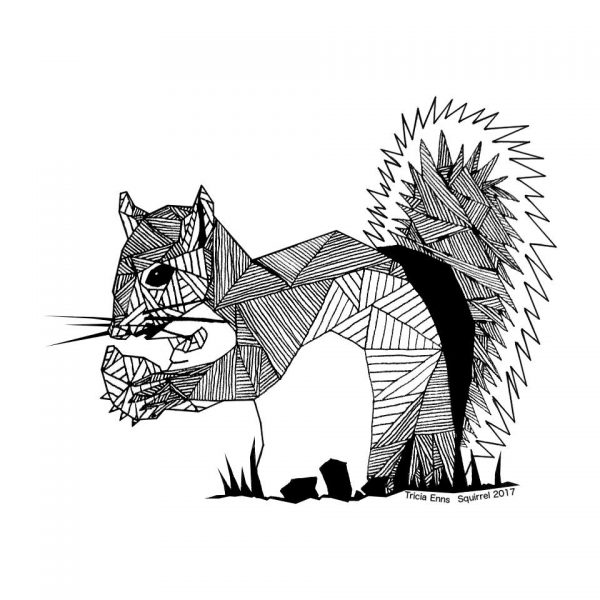 pen and ink geometric design of a squirrel with a nut