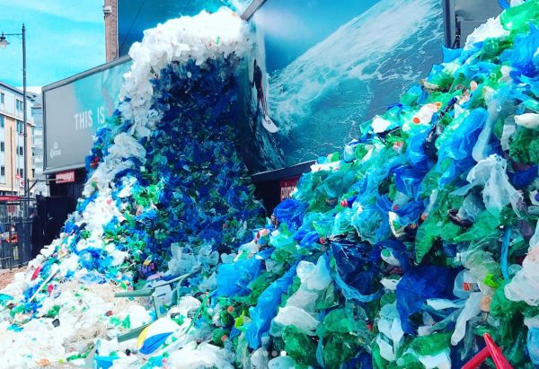wave installation made of plastic waste