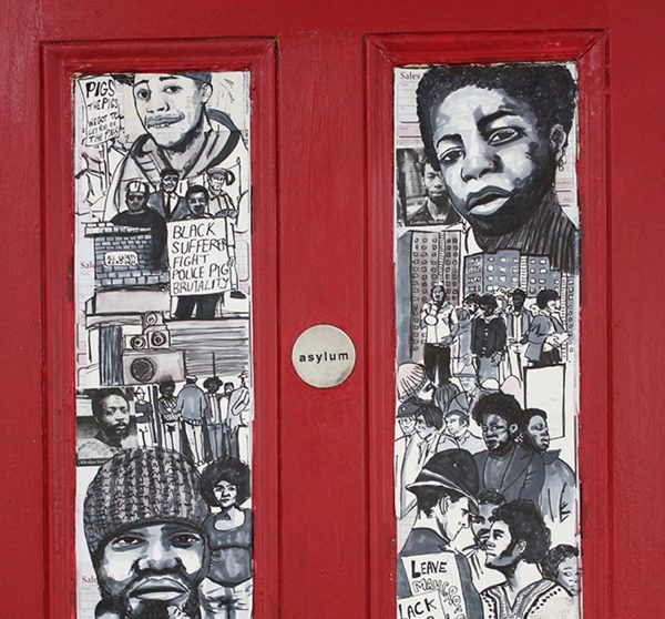 mural painted on a fire door
