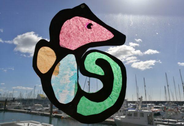 colourful paper sea horse